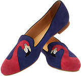 C. Wonder As Is Flamingo Embroidered Suede Loafers - Caroline