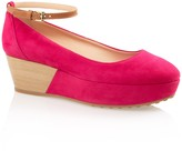 Tod's Suede Wedge Pumps With Ankle Strap
