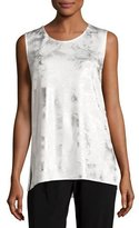 Caroline Rose Silver Cloud Knit Long Tank, White/Silver, Petite