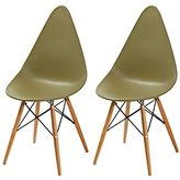 New Home Art Contemporary Furniture,Safe and Kid Friendly Eames Stylish Kitchen Dining Chairs,PP Easy-Clean Plastic,,Set of 2,Green Tea