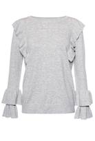 Quiz Grey Light Knit Ruffle Jumper