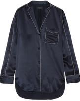 Rag & Bone Hahn Silk-satin Shirt - Midnight blue