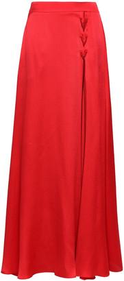 Emporio Armani Lace-up Hammered Silk-satin Maxi Skirt