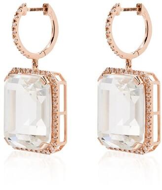 Shay 18kt rose gold Portrait white topaz earrings