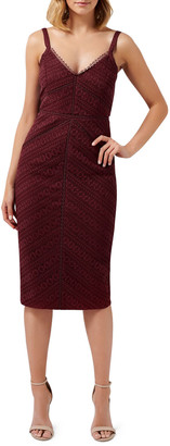 Ever New Spliced Linear Lace Sleeveless Pencil Dress