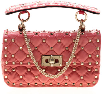 Valentino Light Poppy Quilted Patent Leather Small Rockstud Spike Chain Shoulder Bag