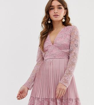 ASOS DESIGN Petite pleated lace insert mini skater dress