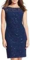 Lauren Ralph Lauren Sequin Lace Cocktail Sheath Dress (Plus Size)