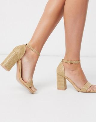Glamorous block heeled sandal in raffia beige