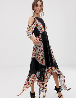 Frock and Frill Floral Printed Velvet Hanky Hem Dress With Cold Shoulder