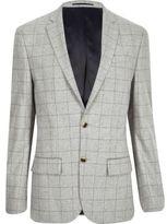 River Island Mens Grey check wool-blend slim blazer