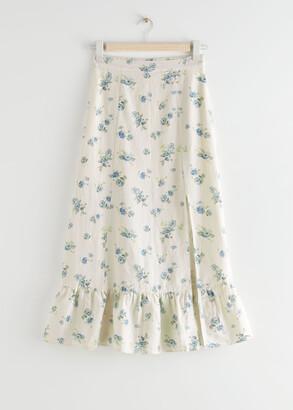 And other stories Side Slit Linen Midi Skirt