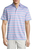 Peter Millar Floyd Multi-Stripe Lisle Polo Shirt, Light Blue