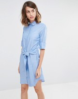 Warehouse Clean Cotton Tie Front Shirt Dress