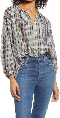 Lou & Grey Maranda Stripe Peasant Blouse