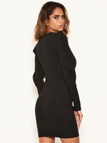 AX Paris Puff Sleeved Bodycon Dress - Black
