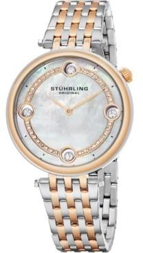 Stuhrling Original Women's Quartz Watch, Silver Case, Mop Dial, Silver and Rose Tone Bracelet