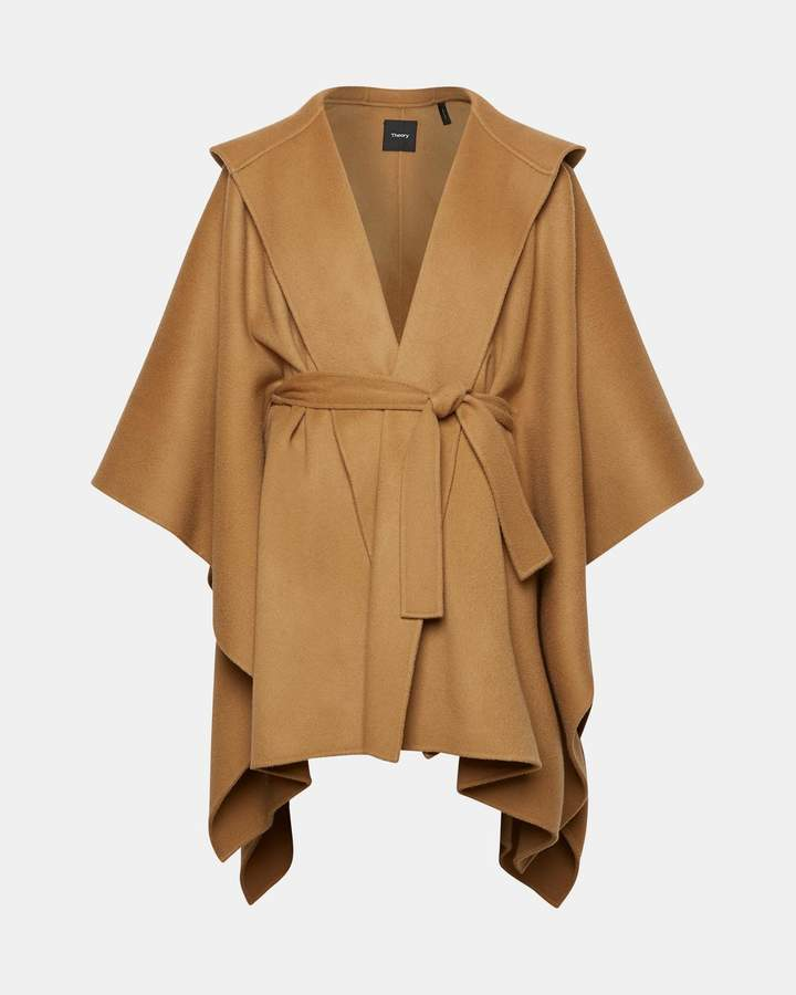 Theory Wool-Cashmere Hooded Poncho