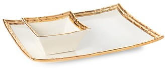 AERIN Mayotte 18K Yellow Gold & Ceramic Chip and Dip Set