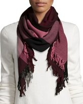 Burberry Wool Color Check Square Scarf, Garnet/Pink