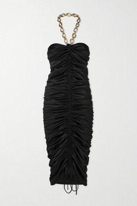 Dodo Bar Or Roxy Chain-detail Ruched Satin Halterneck Midi Dress - Black
