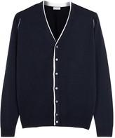 John Smedley Navy Contrast-trim Wool Cardigan