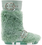 Miu Miu Green Eco Shearling Moon Boots