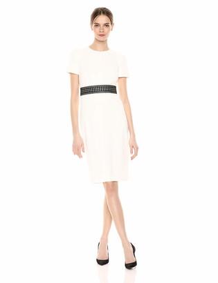 Calvin Klein Women's Short Sleeve Sheath with Lace Waist Band Dress