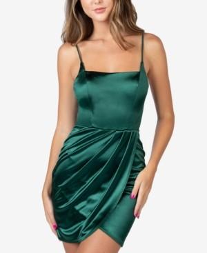 B. Darlin Juniors' Sleeveless Satin Sheath Dress