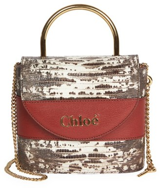 Chloé Aby Snakeskin-Embossed Leather Top Handle Bag