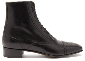 Gucci Dracma Gg-perforation Lace-up Leather Boots - Mens - Black