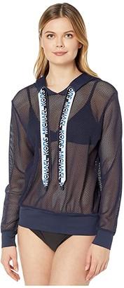 MICHAEL Michael Kors Solid Logo Cover-Up Mesh Hoodie Top with Logo Ties (New Navy) Women's Swimwear
