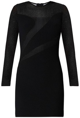 Herve Leger Sheer Long-Sleeve Cutout Dress