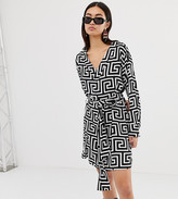 Weekday wrap front geometric roman print dress