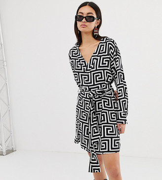 Weekday wrap front geometric roman print dress-Multi