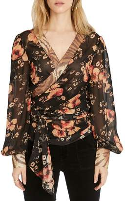 Buffalo David Bitton Aylin Floral Long-Sleeve Wrap Top