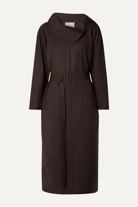 ENVELOPE1976 Bucuresti Belted Wool Midi Dress - Dark brown