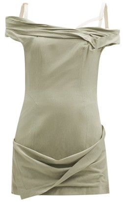 Jacquemus Foglio Ruched Linen-blend Mini Dress - Light Green