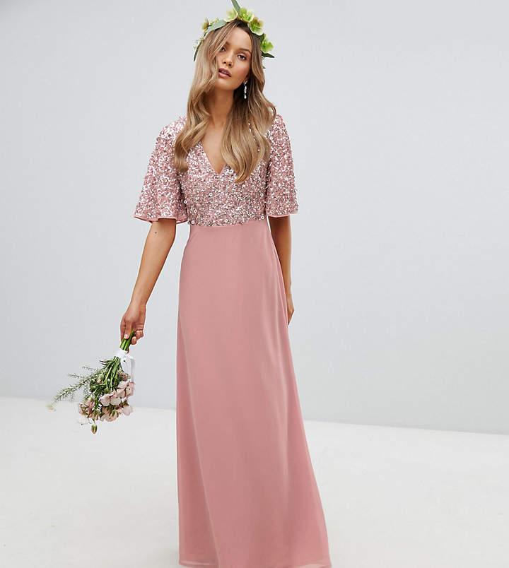 Maya Sequin Top Maxi Bridesmaid Dress With Flutter Sleeve Detail