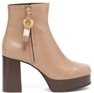 See by Chloe Leather Platform Ankle Boots - Beige