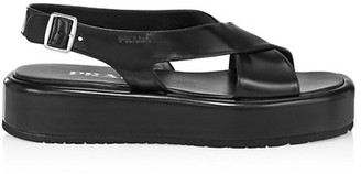 Prada Leather Flatform Slingback Sandals