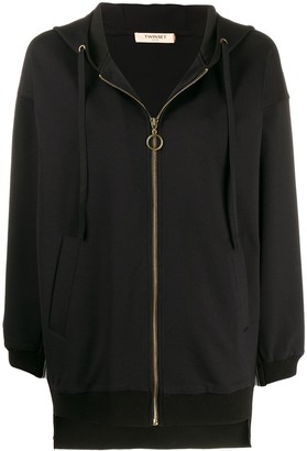 Twin-Set zip front side stripe hoodie