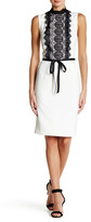 Alexia Admor Lace Mock Neck Waist Belt Dress