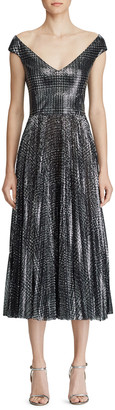 Ralph Lauren Fonda Metallic Glen-Plaid Dress