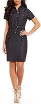 Calvin Klein Petite Belted Denim Shirt Dress