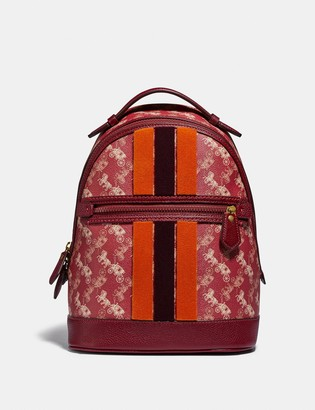 Coach Lunar New Year Barrow Backpack With Horse And Carriage Print And Varsity Stripe