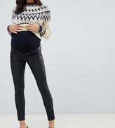 Mama Licious Mama.Licious Mamalicious Maternity coated skinny jeans with bump band in black