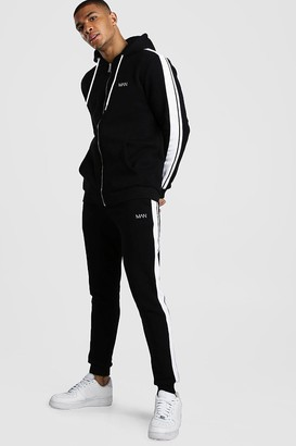 boohoo Mens Black Original MAN Zip Hooded Tracksuit With Tape Detail, Black