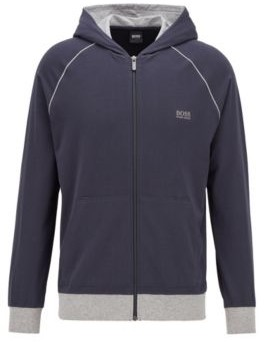 HUGO BOSS Zip-through hoodie in stretch cotton jersey with contrast piping