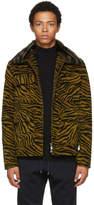 Bottega Veneta Black and Yellow Lamb Shearing Zebra Jacket
